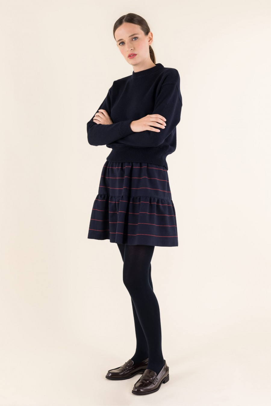 Blue and bordeaux wool skirt