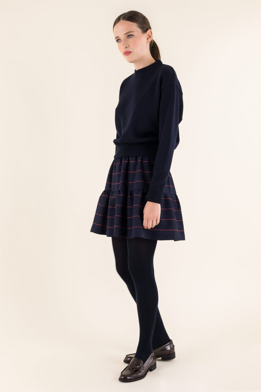 Casual winter outfit with skirt