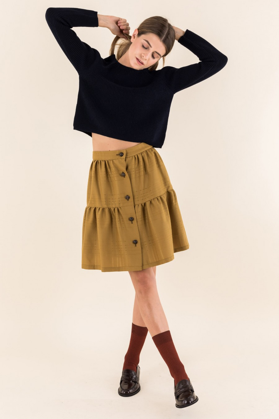Mustard flounced skirt
