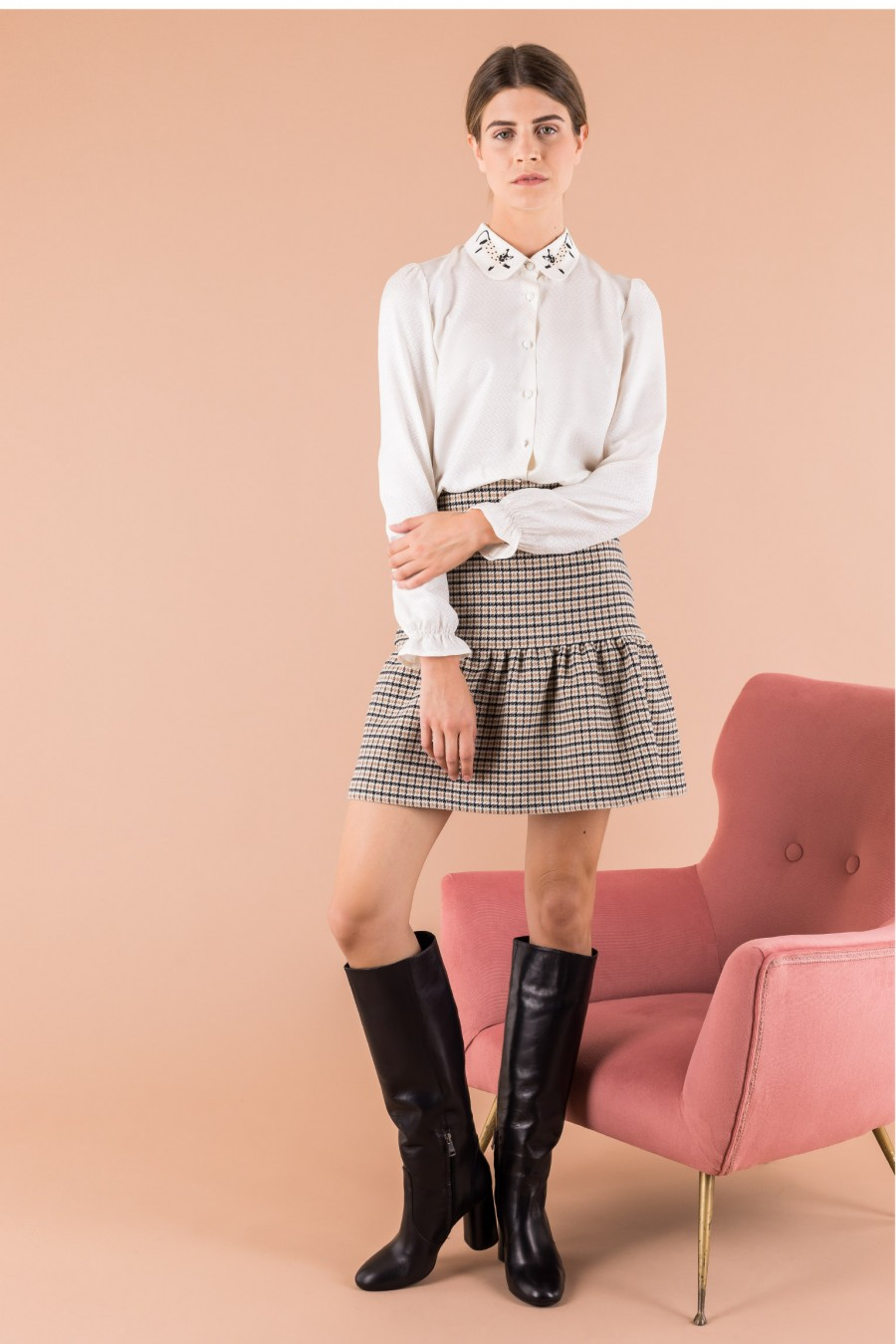 Wool skirt with micro pied de poule pattern