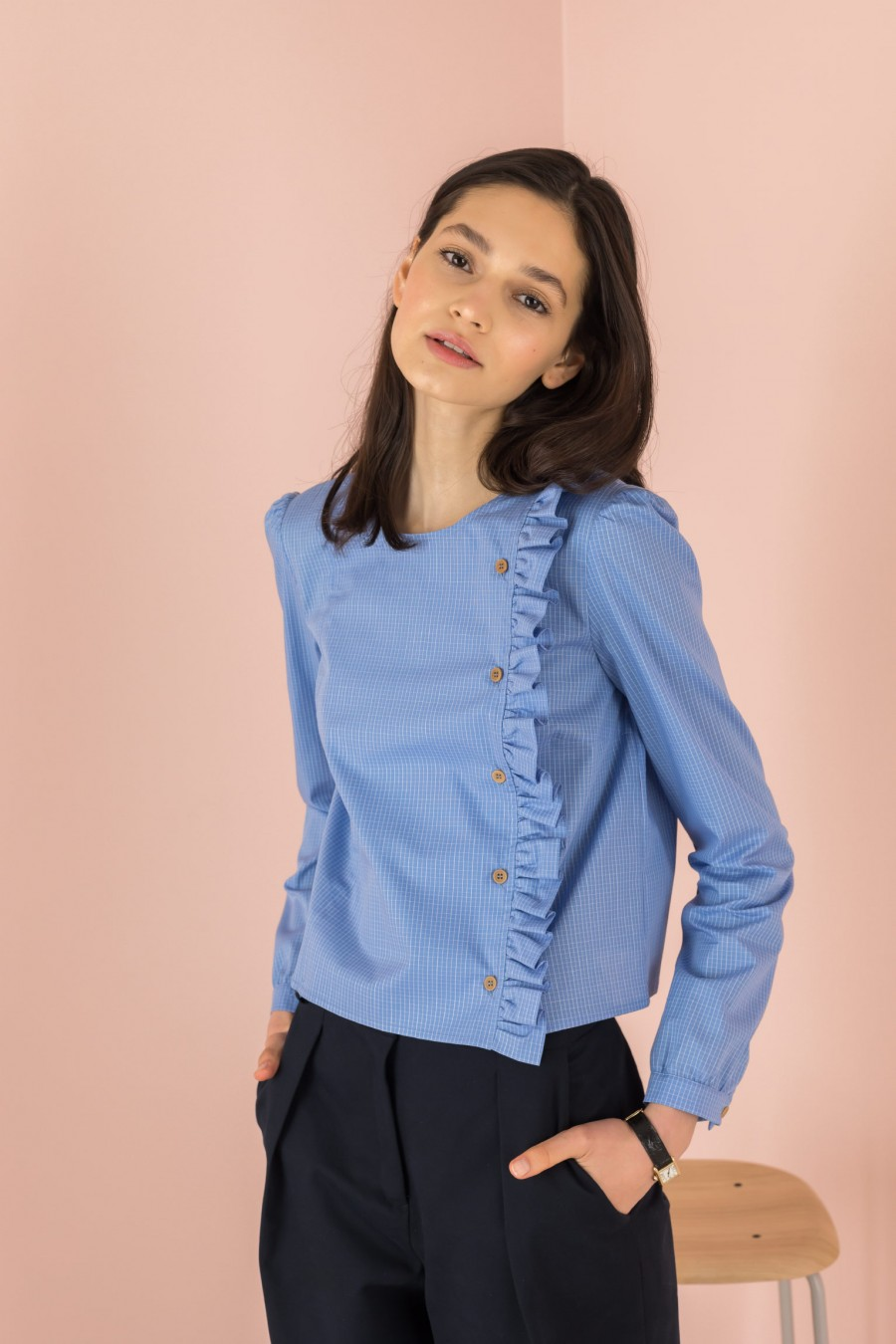 light blue shirt with side buttons