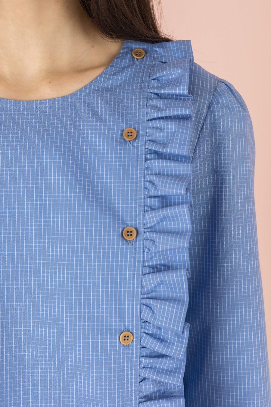 light blue checkered shirt with ruffles