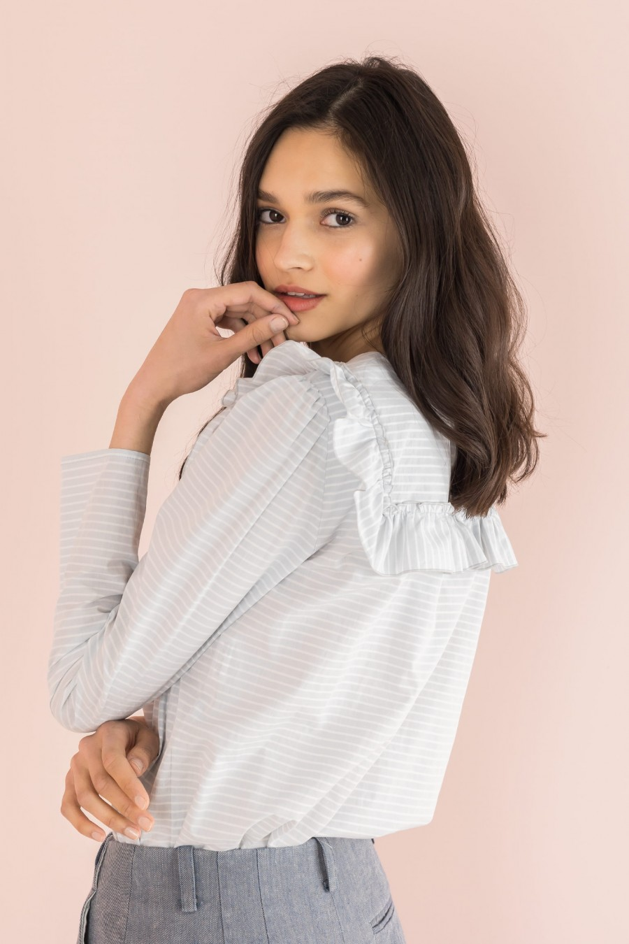 grey shirt with yoke and ruffles