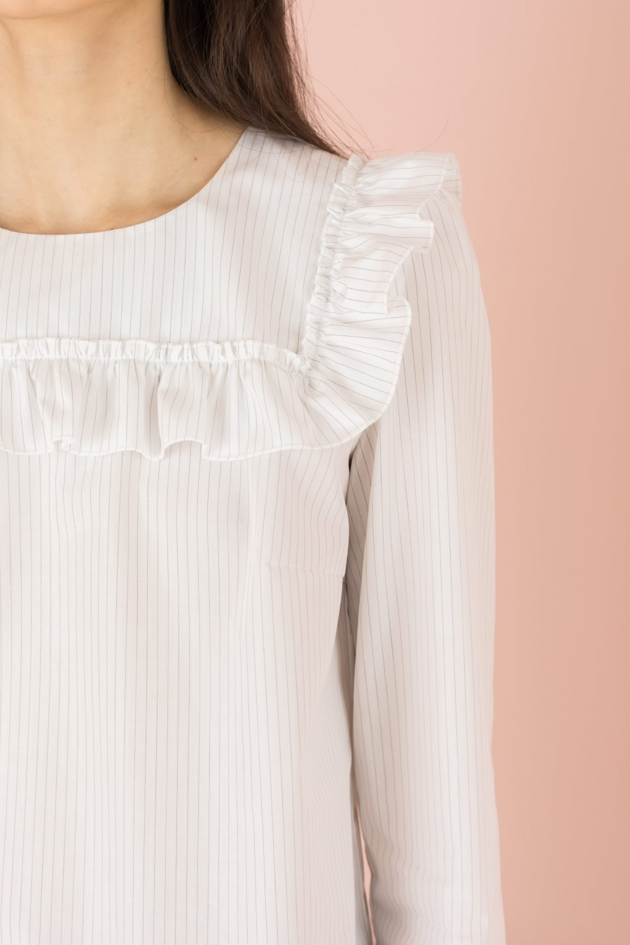white striped shirt with yoke and ruffles