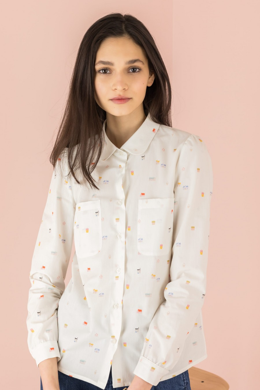 white shirt with patterned