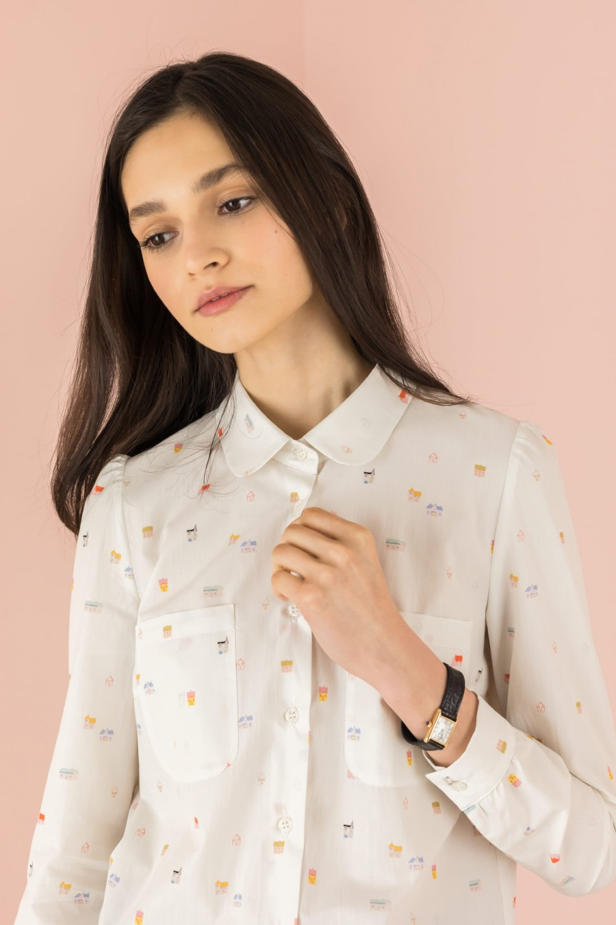 white shirt with rounded collar