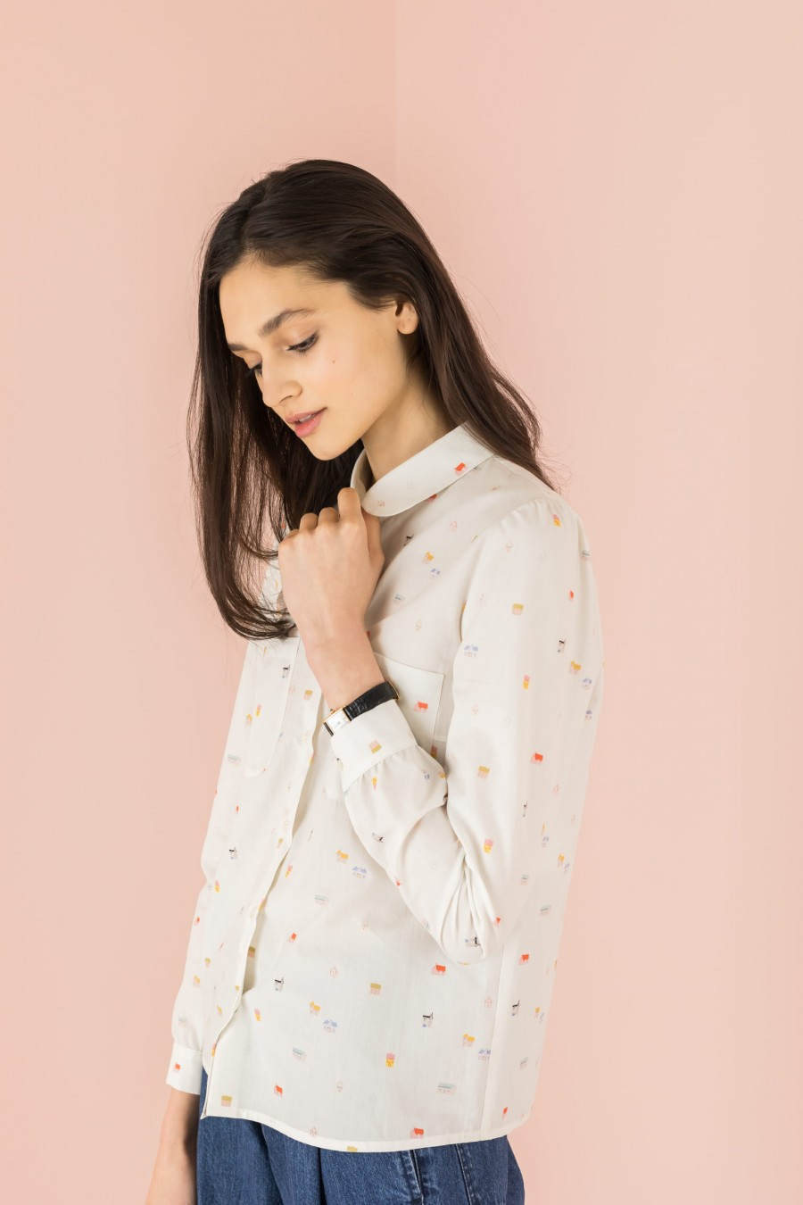 shirt with patterned and long sleeves