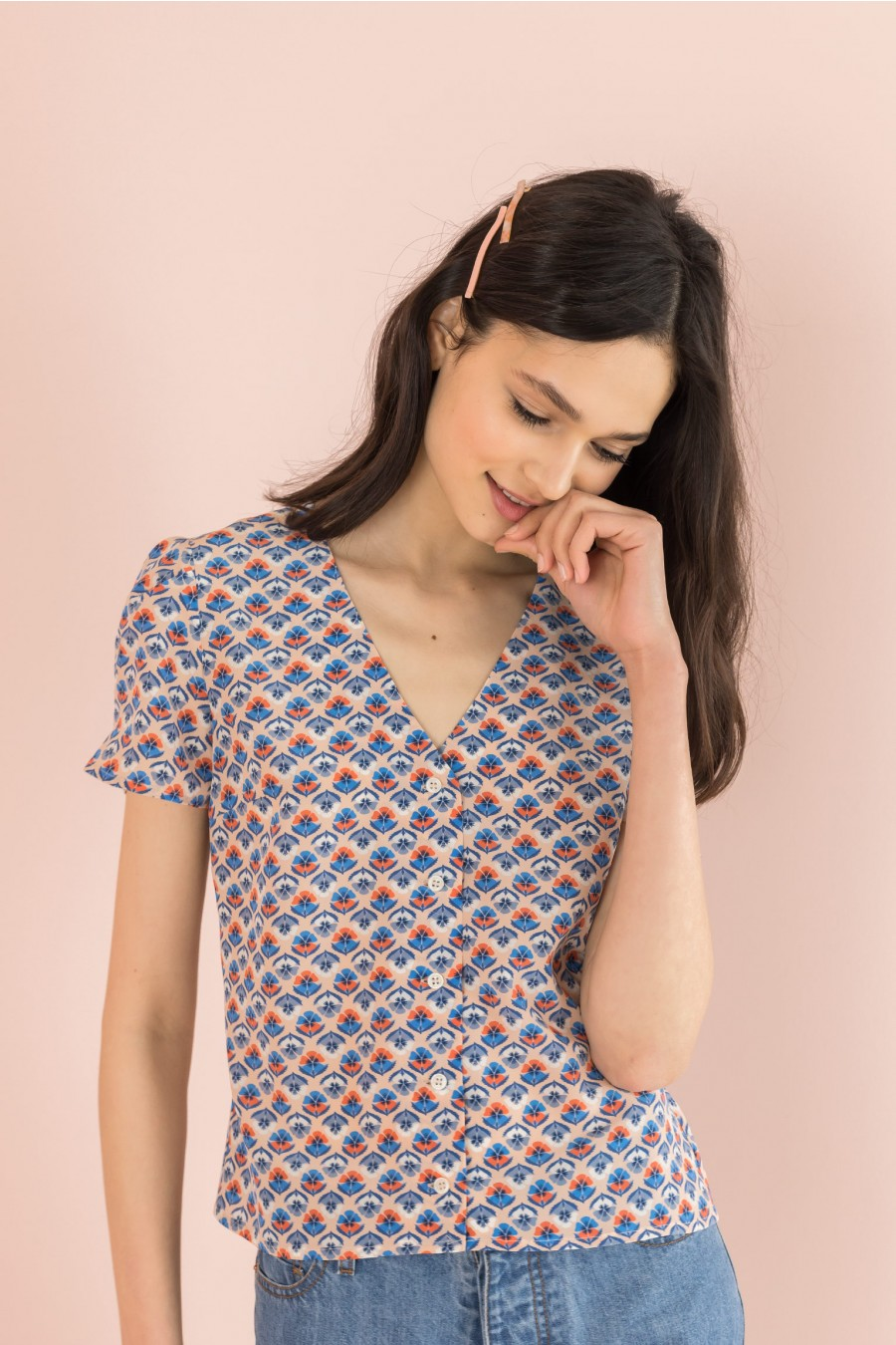 silk shirt with short sleeves