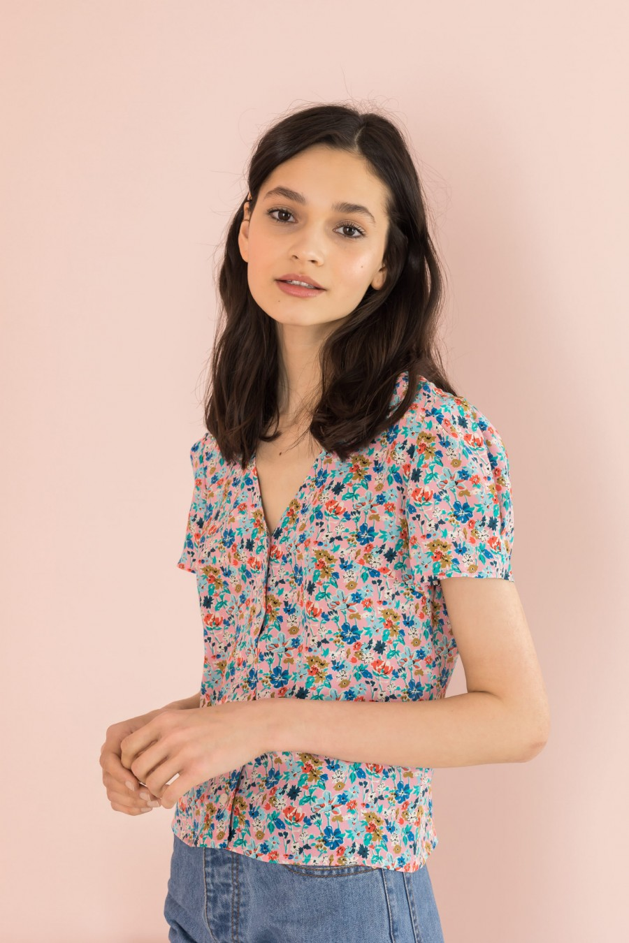 silk shirt with pattern on pink background