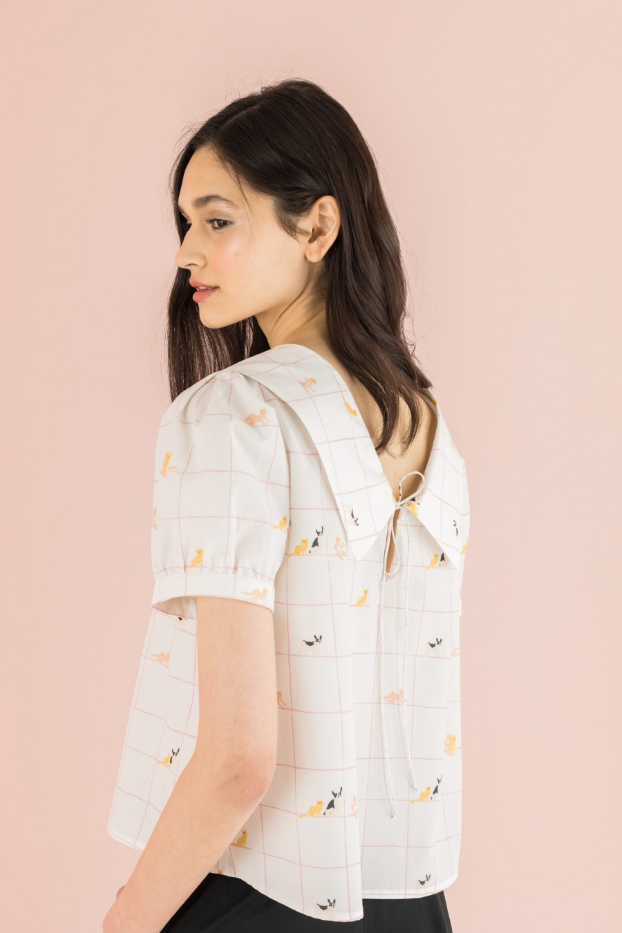 blouse with a string on the back