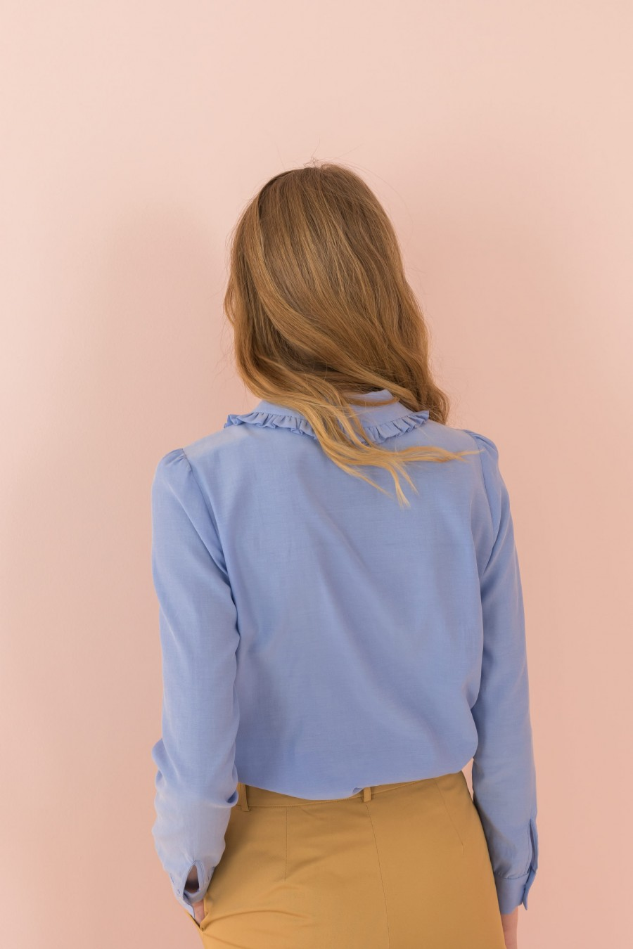indigo blue shirt with long sleeves