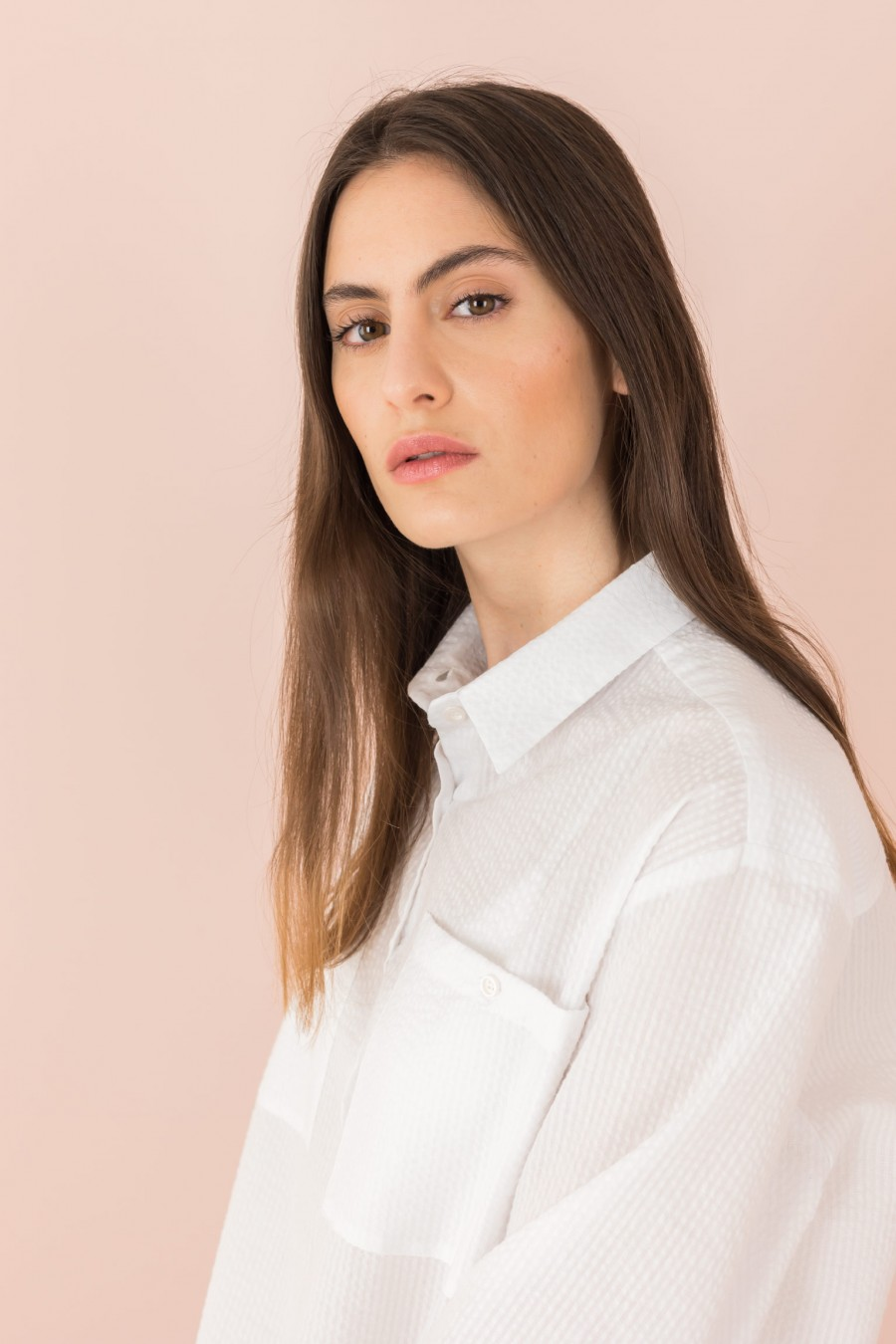 white shirt with pockets