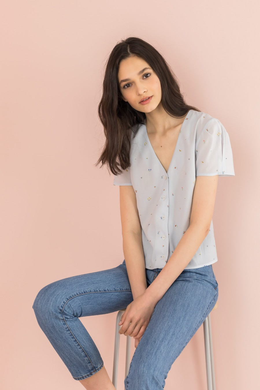 light blue shirt with short sleeves