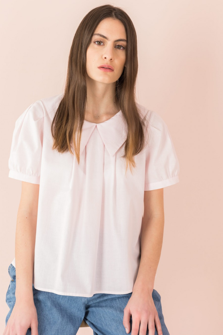 pink blouse with sailor collar
