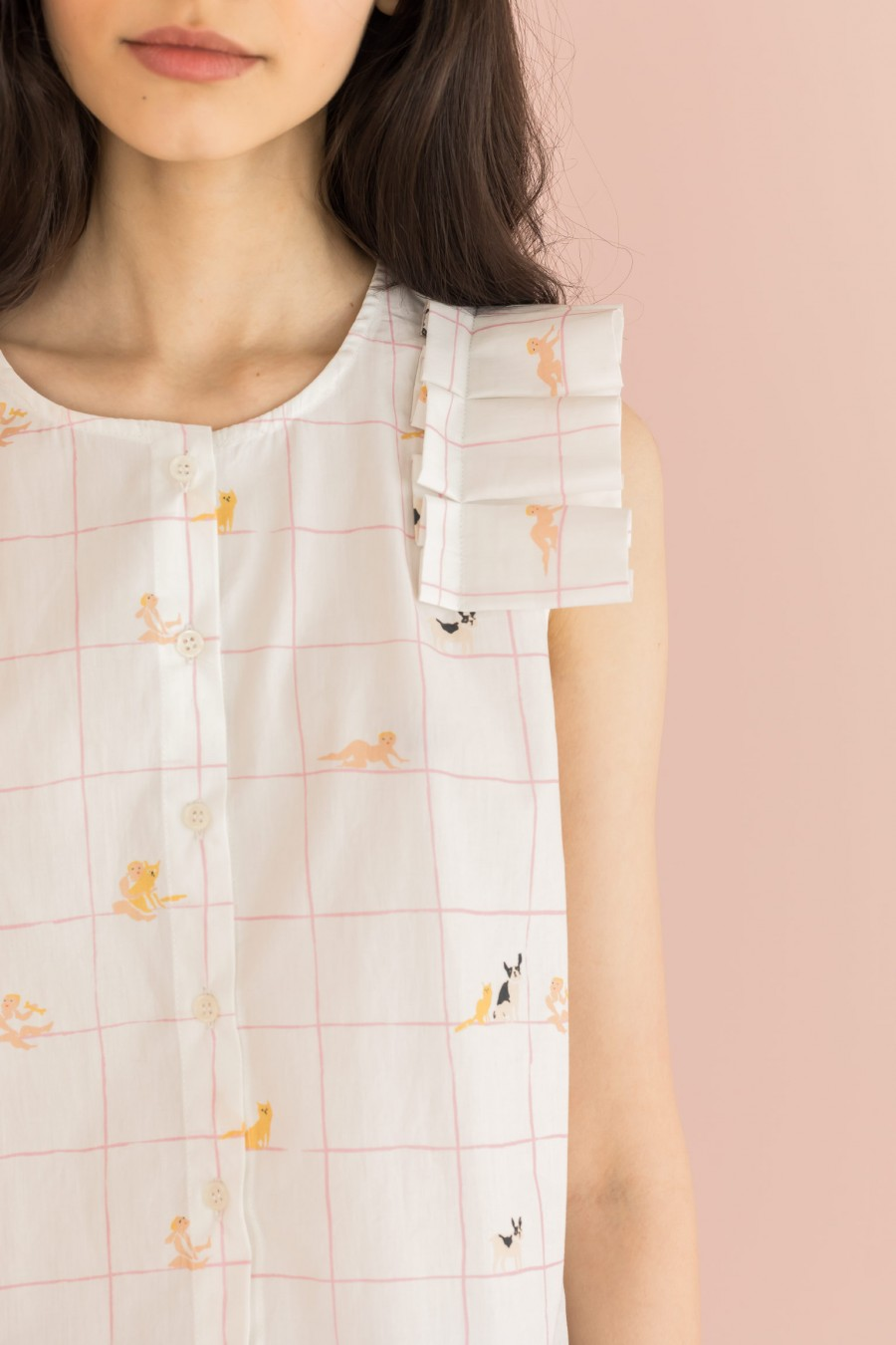 shirt with origami on the shoulders