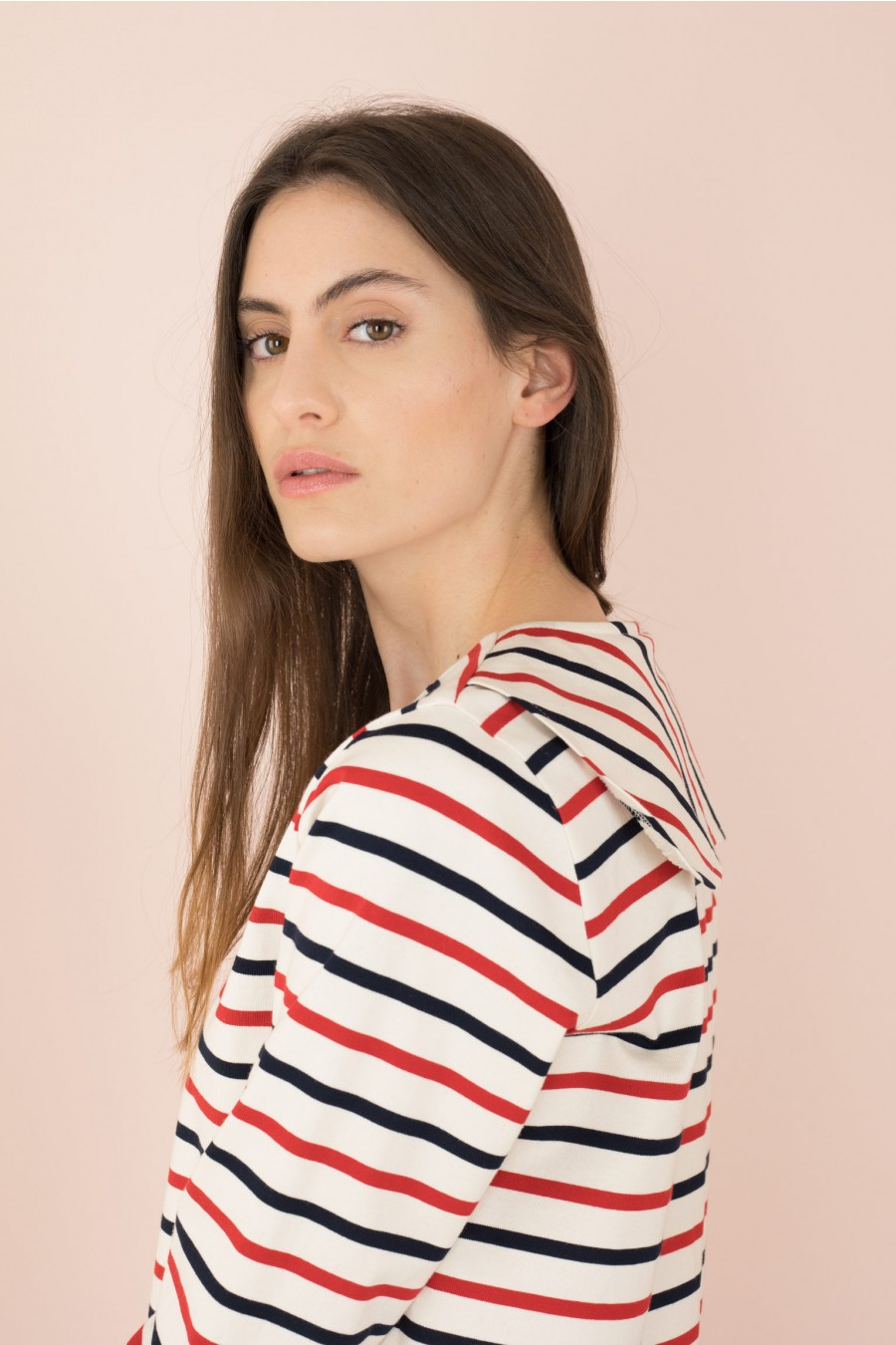 striped shirt with sailor collar