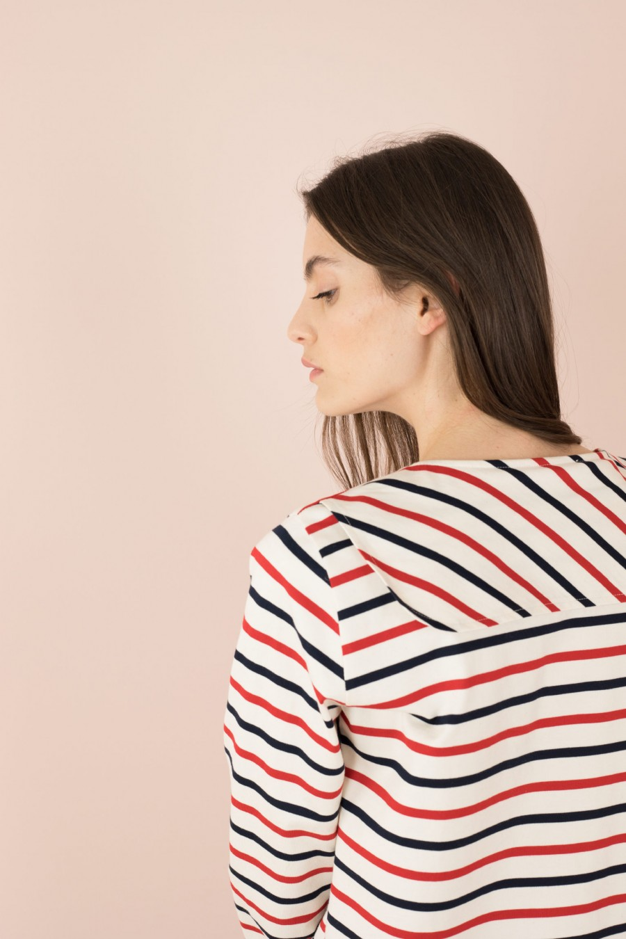 striped shirt with yoke