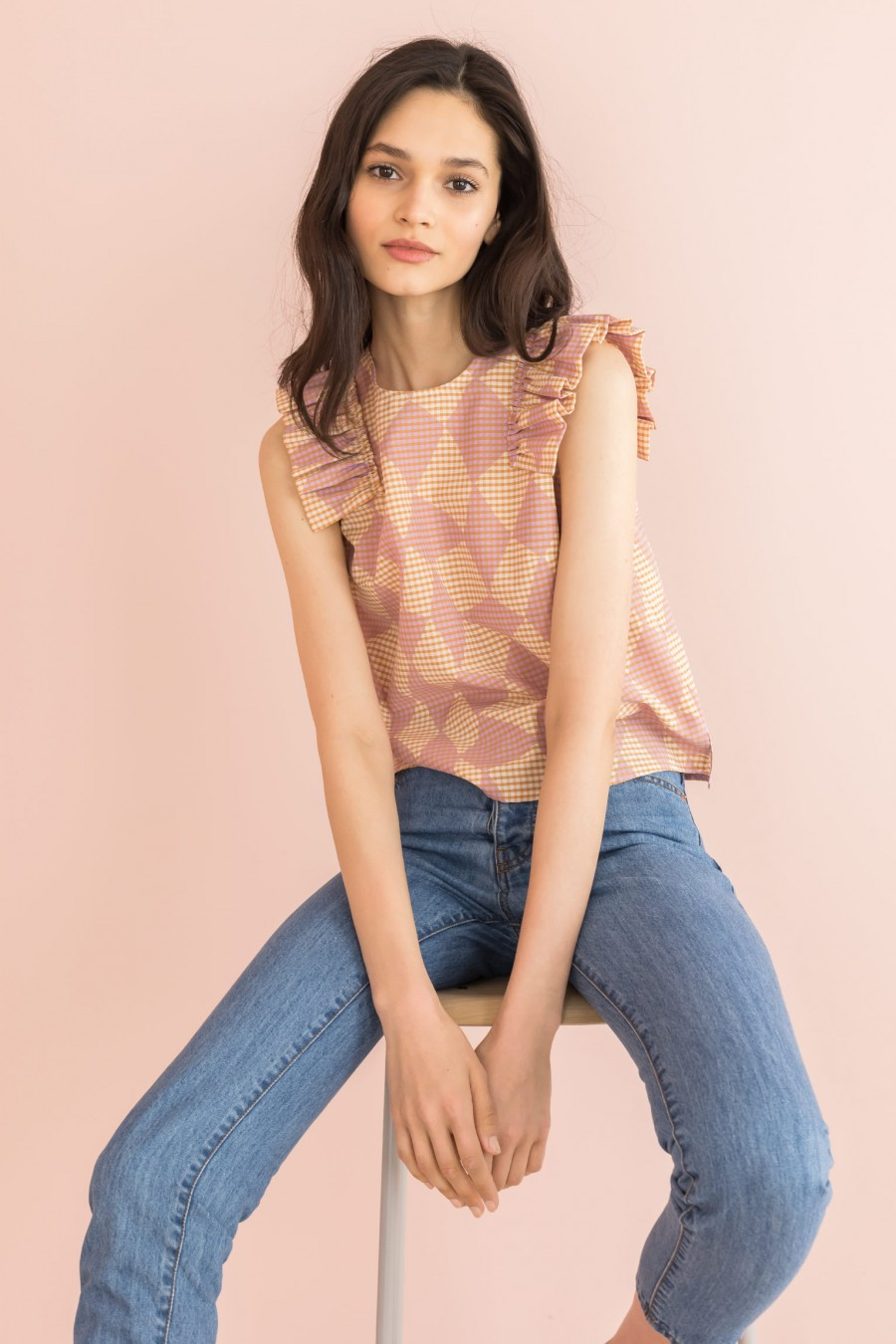 light top with gathered cap sleeves