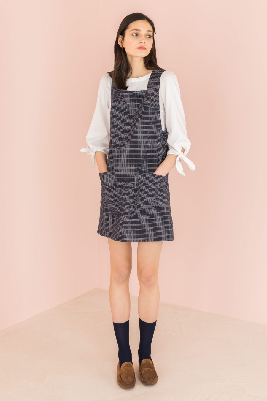 blue and white checkered pinafore dress