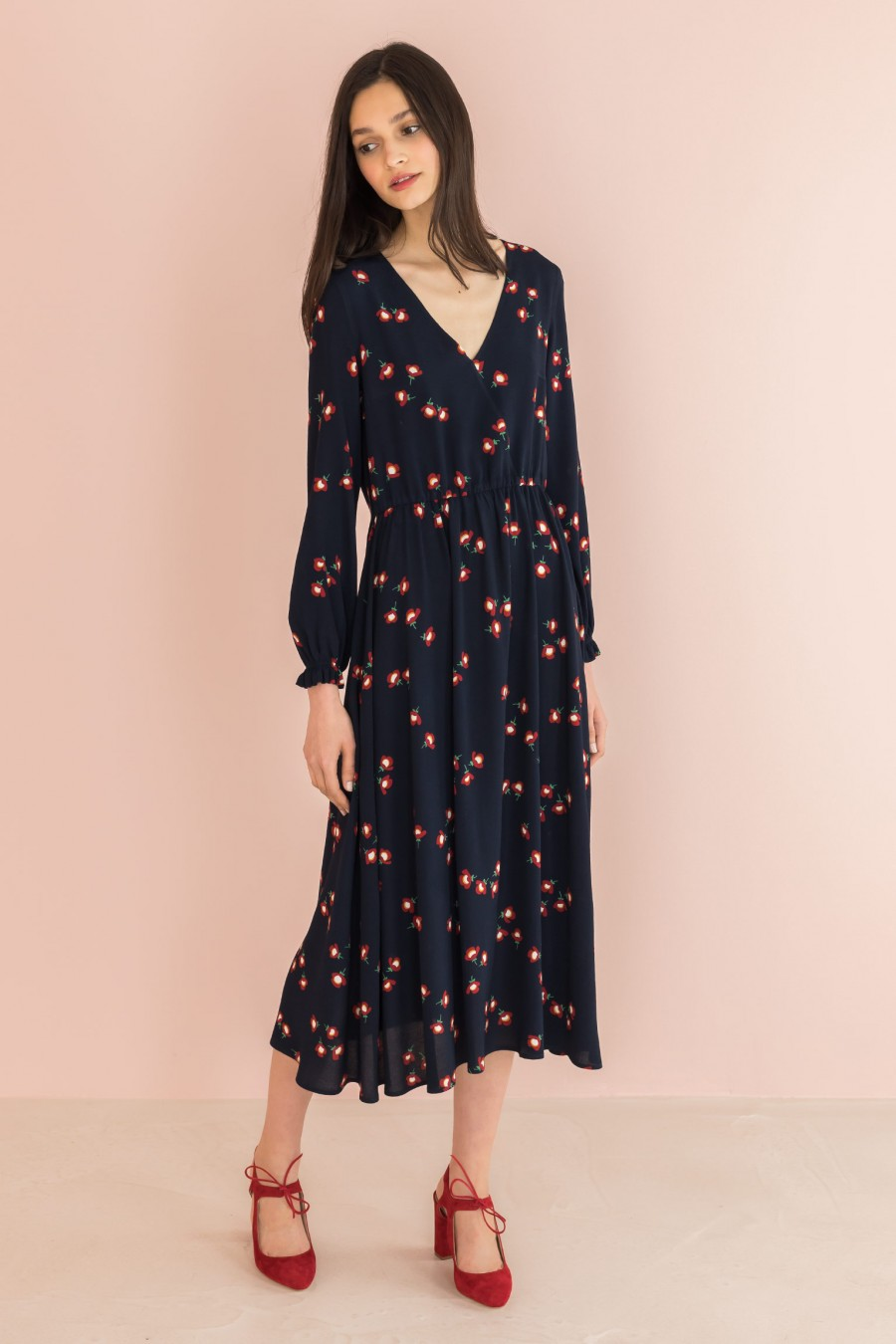 blue long dress with flowers