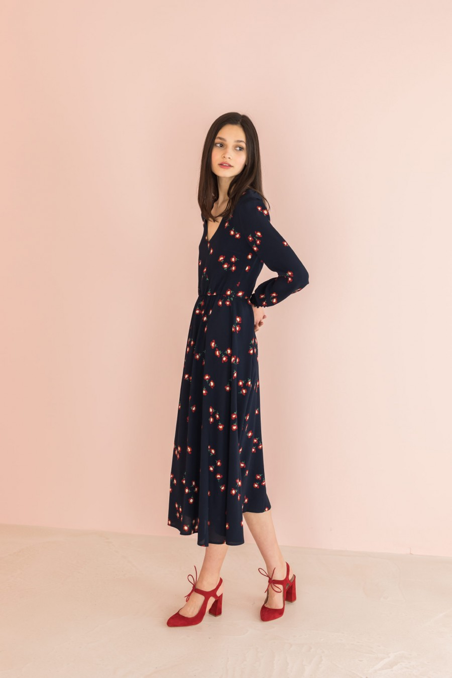 long dress with red flowers