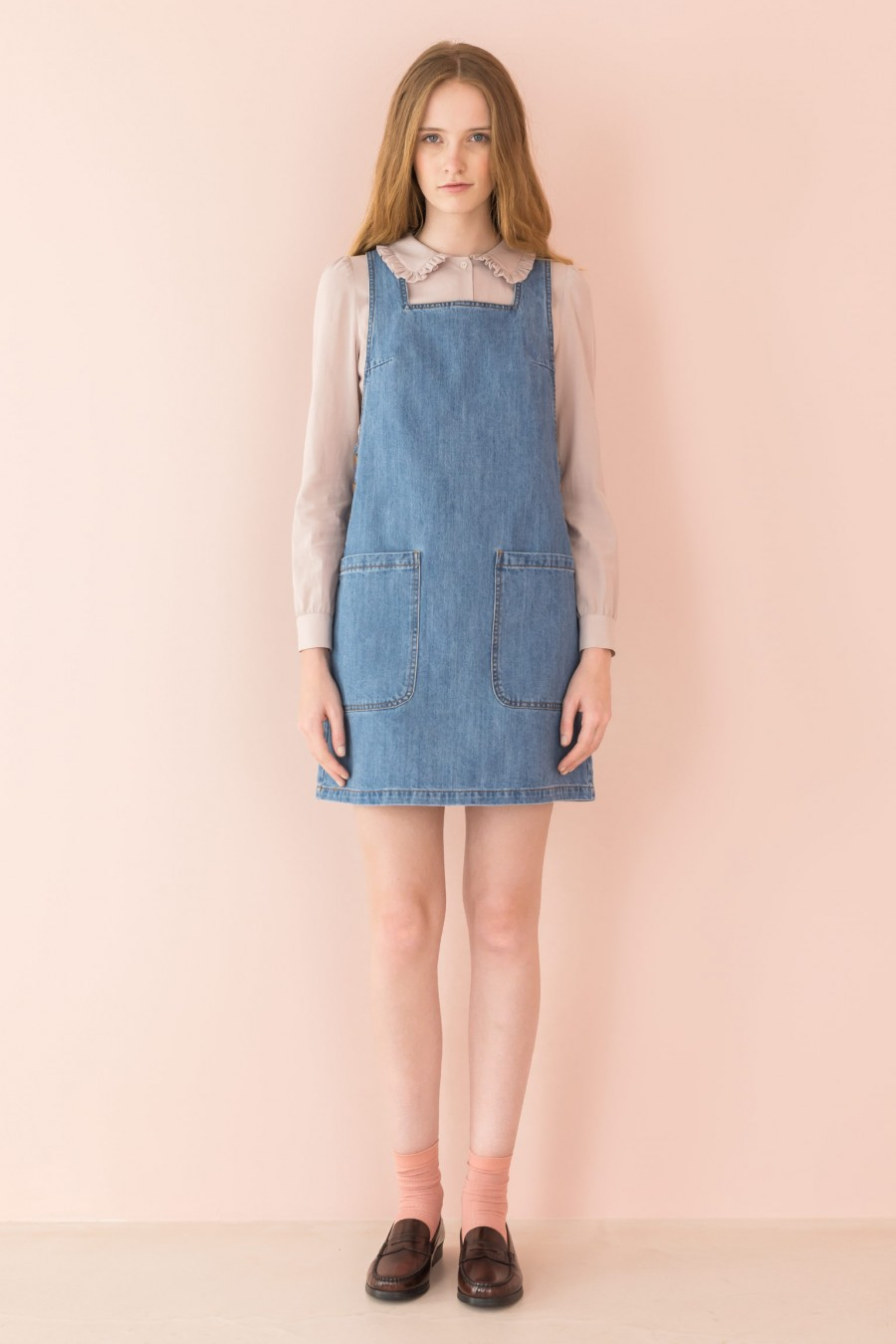 pinafore dress in light jeans