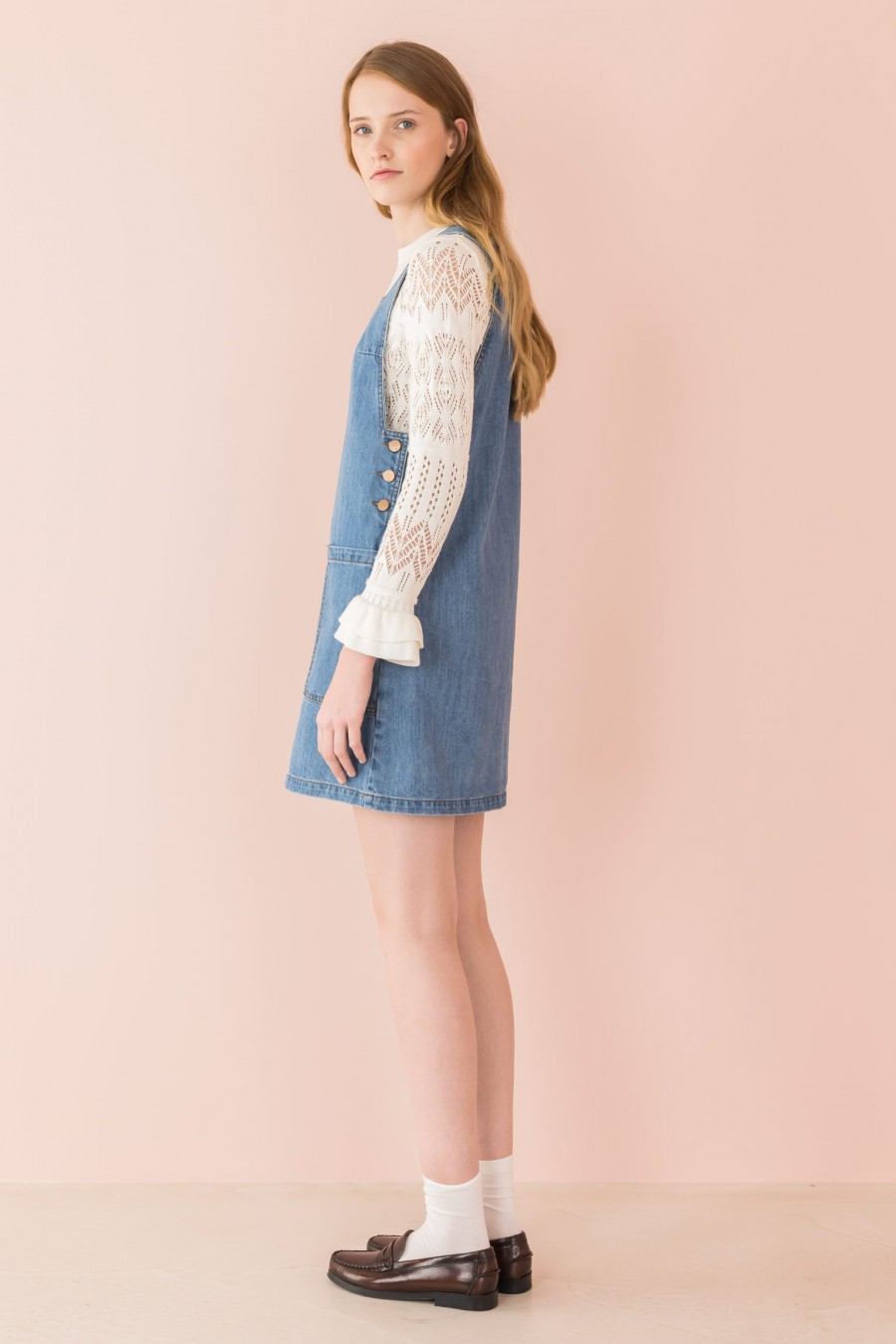denim pinafore dress in light jeans