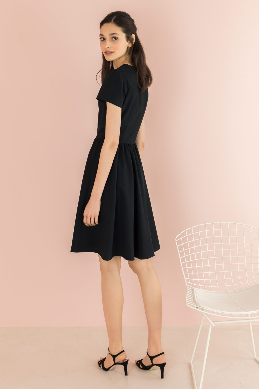 black dress with short sleeves
