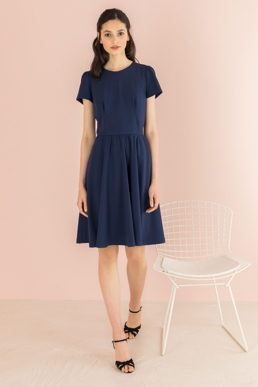 blue dress with gathered skirt and short sleeves