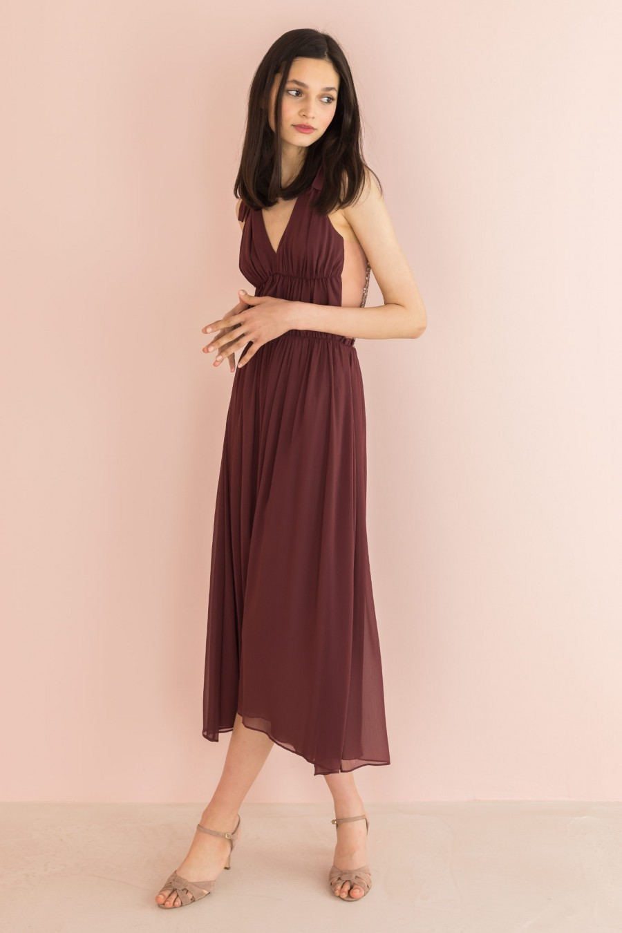 burgundy long dress