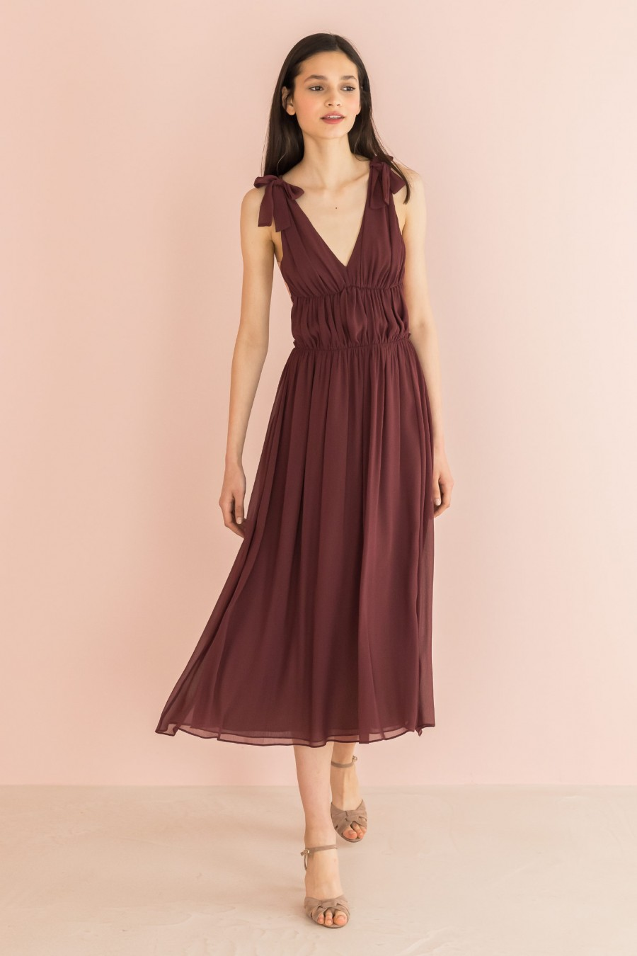 burgundy long dress with sequins