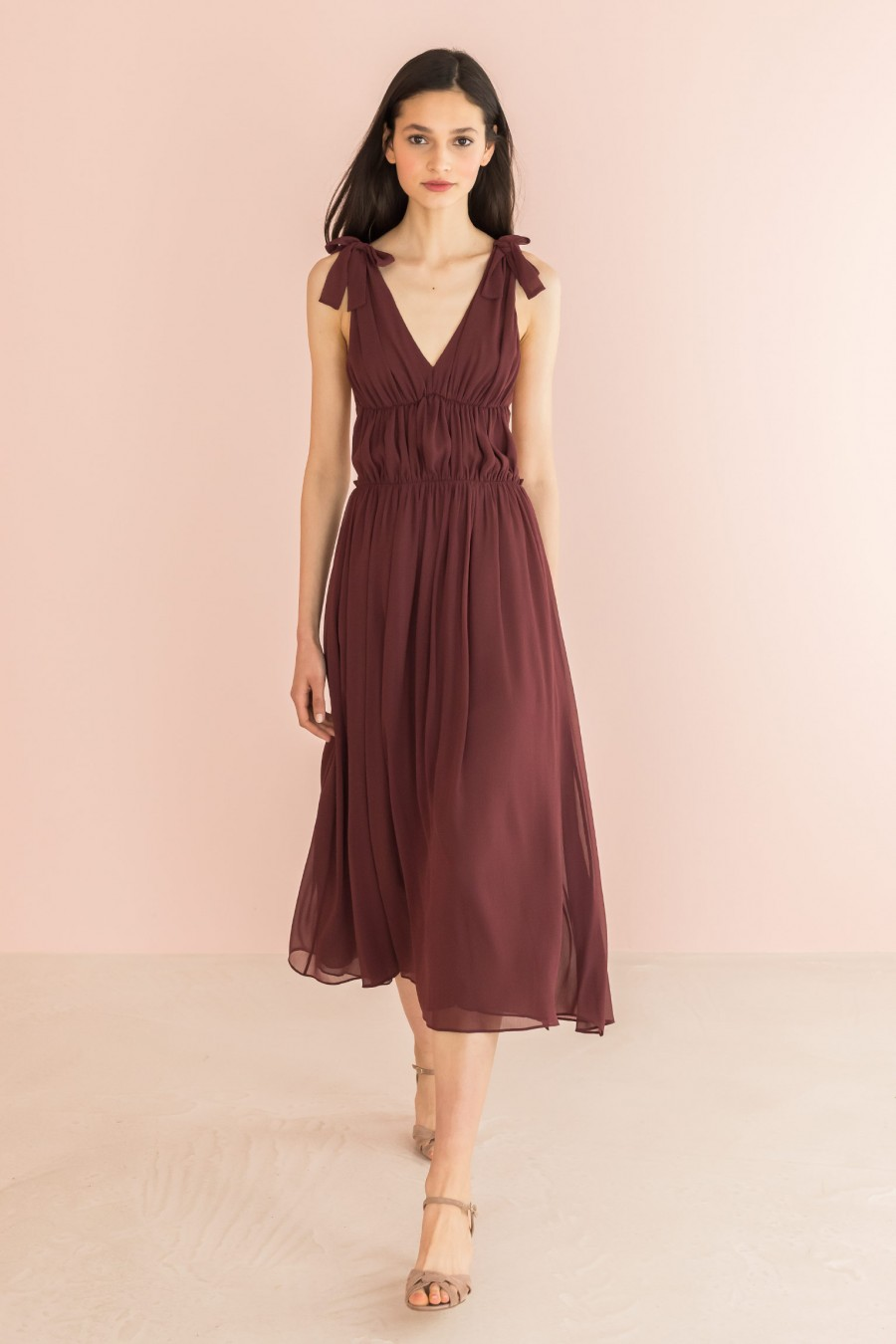 long V-neck burgundy dress