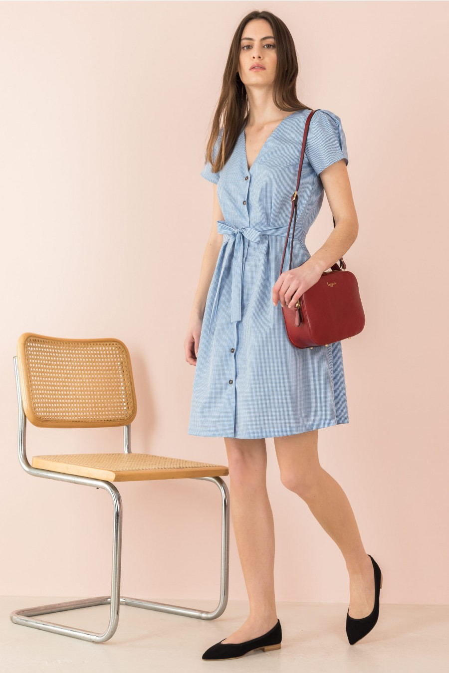 shirt dress with V-neck and puff sleeves