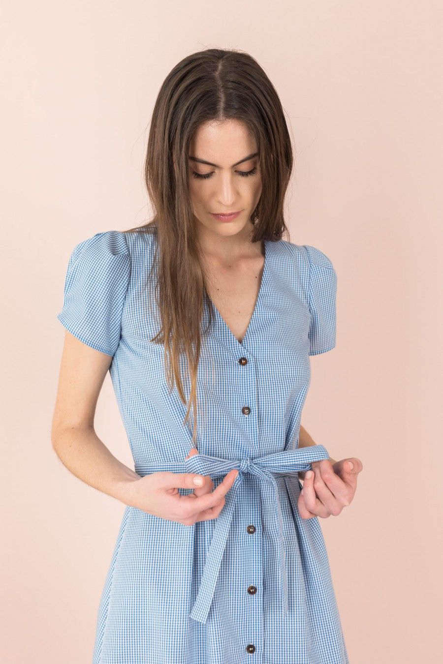 shirt dress with puff sleeves
