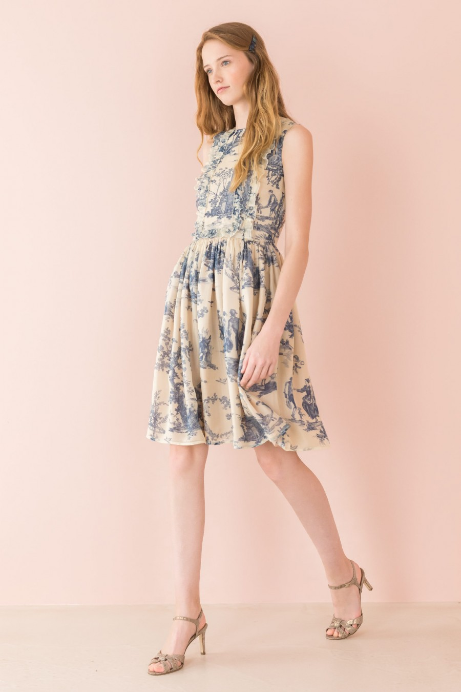 organdie blue dress toile de jouy