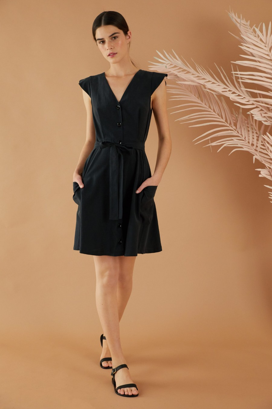 Black summer dress with pockets
