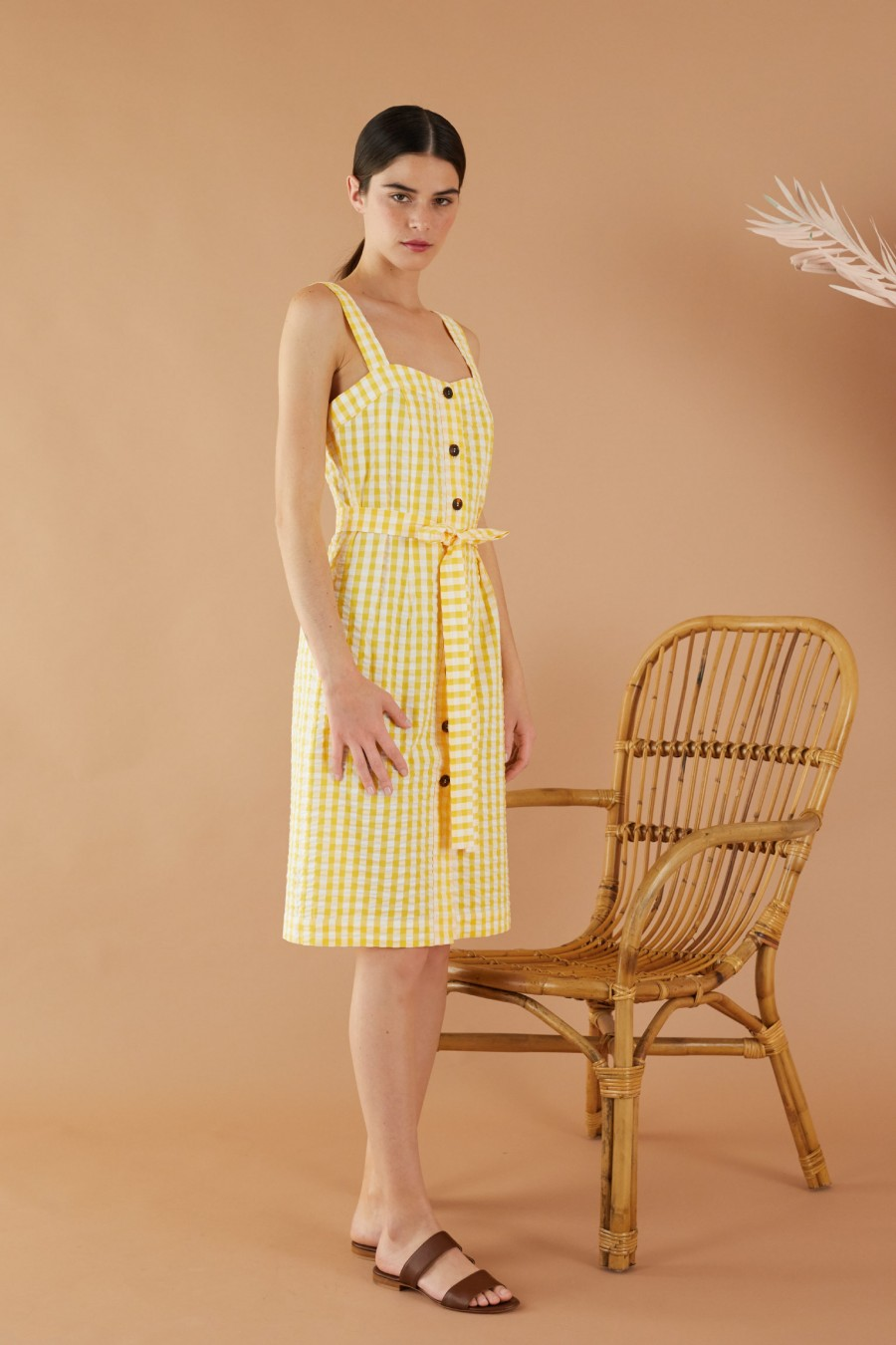 White and yellow Vichy sheath dress