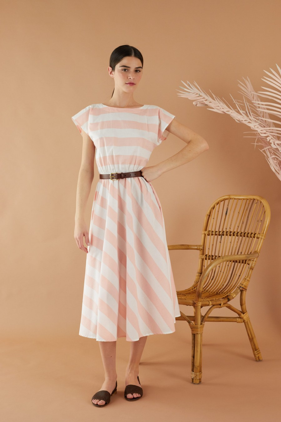 Pink and white striped summer dress