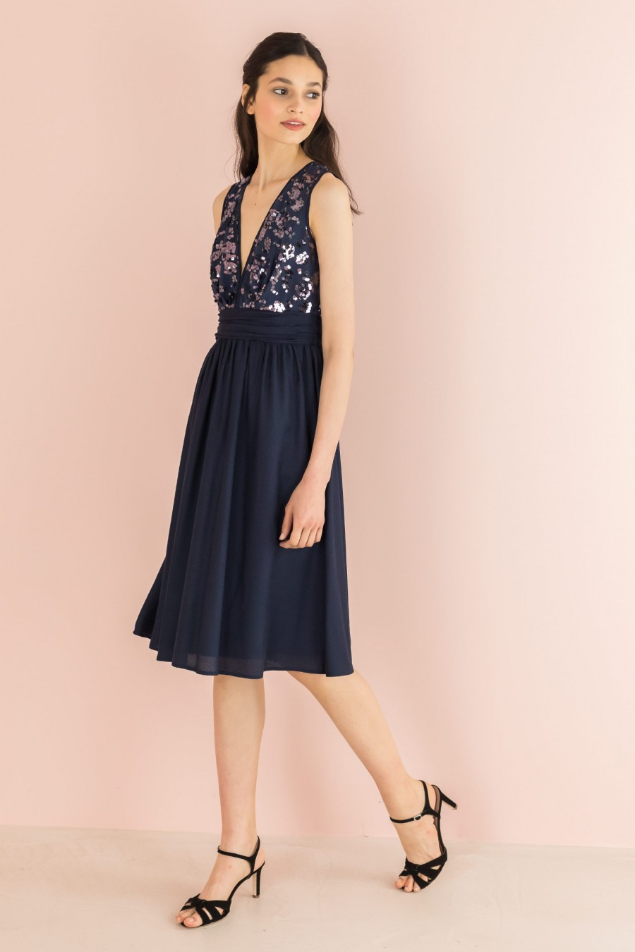 blue V-neck dress with sequins