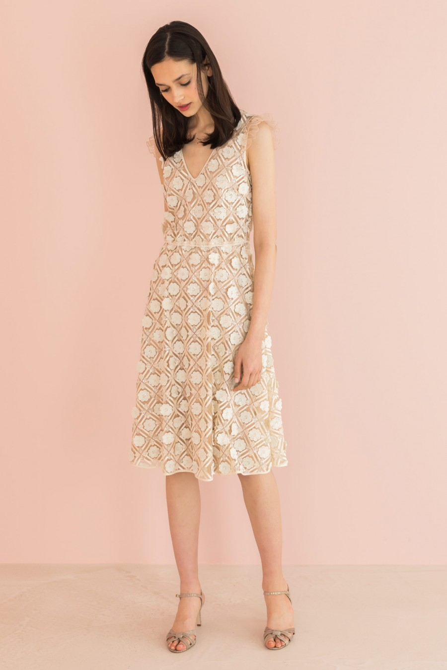 ivory fabric embroidered dress
