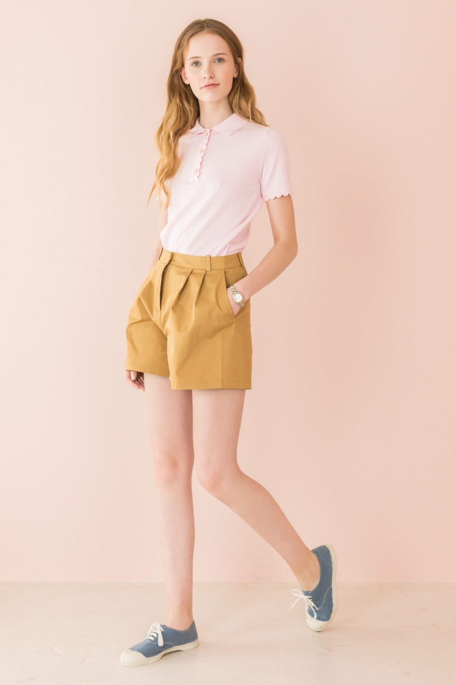 mustard shorts with pleats