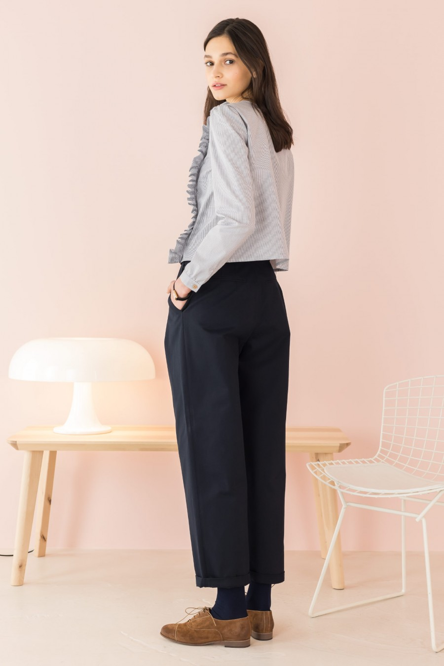 blue long trousers in light fabric