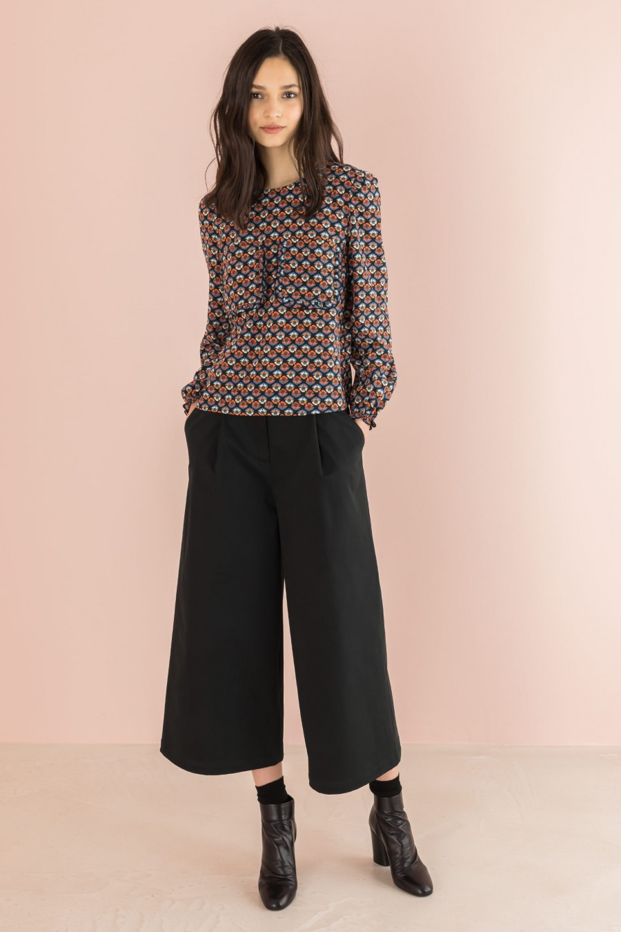 culotte pants  in black cotton
