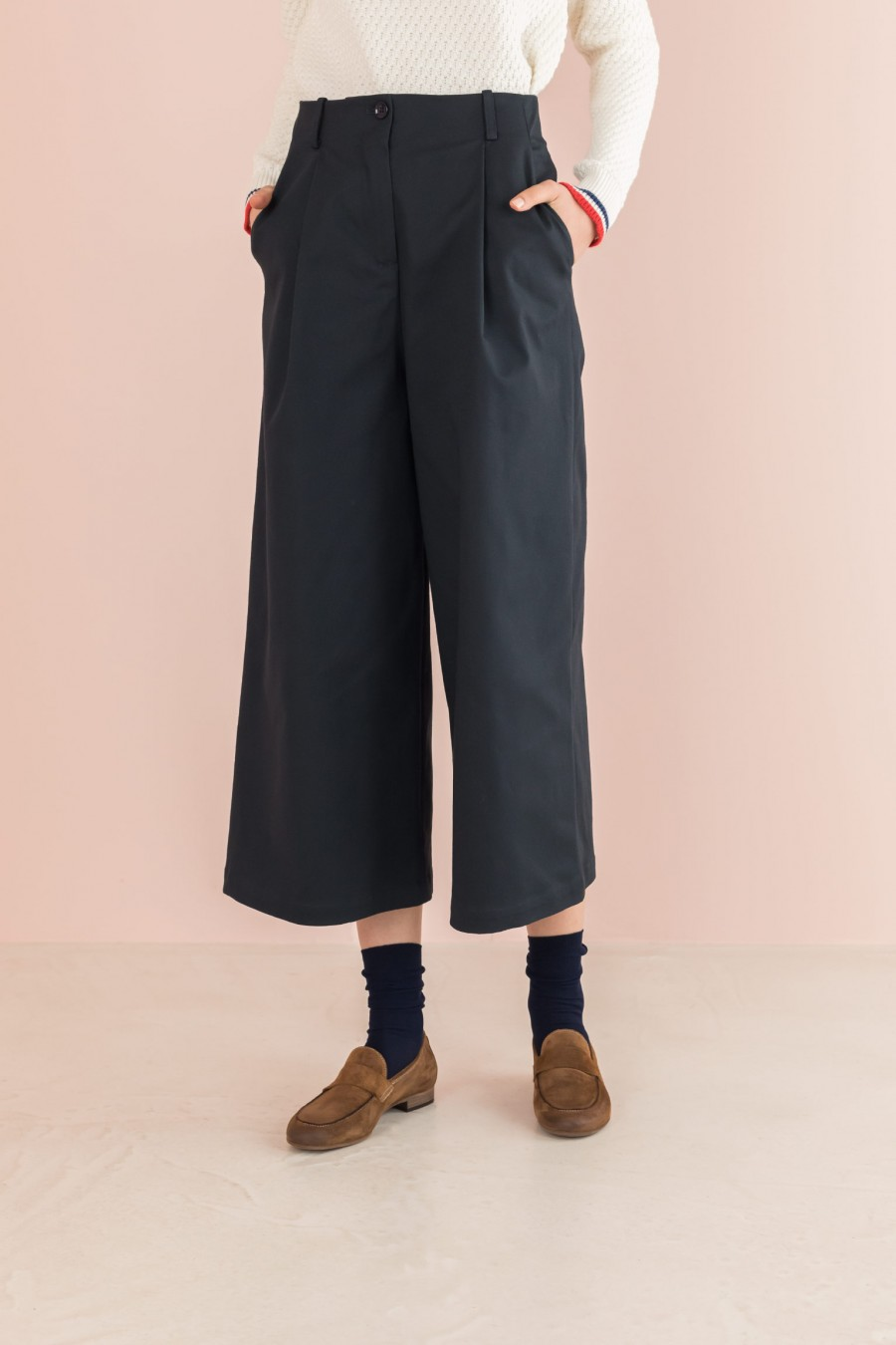 culotte pants  in blue cotton