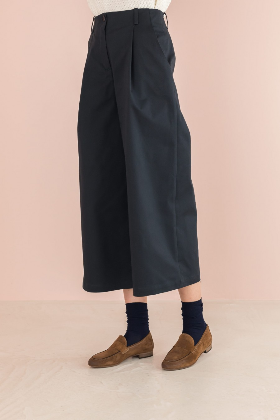 trousers in blue cotton