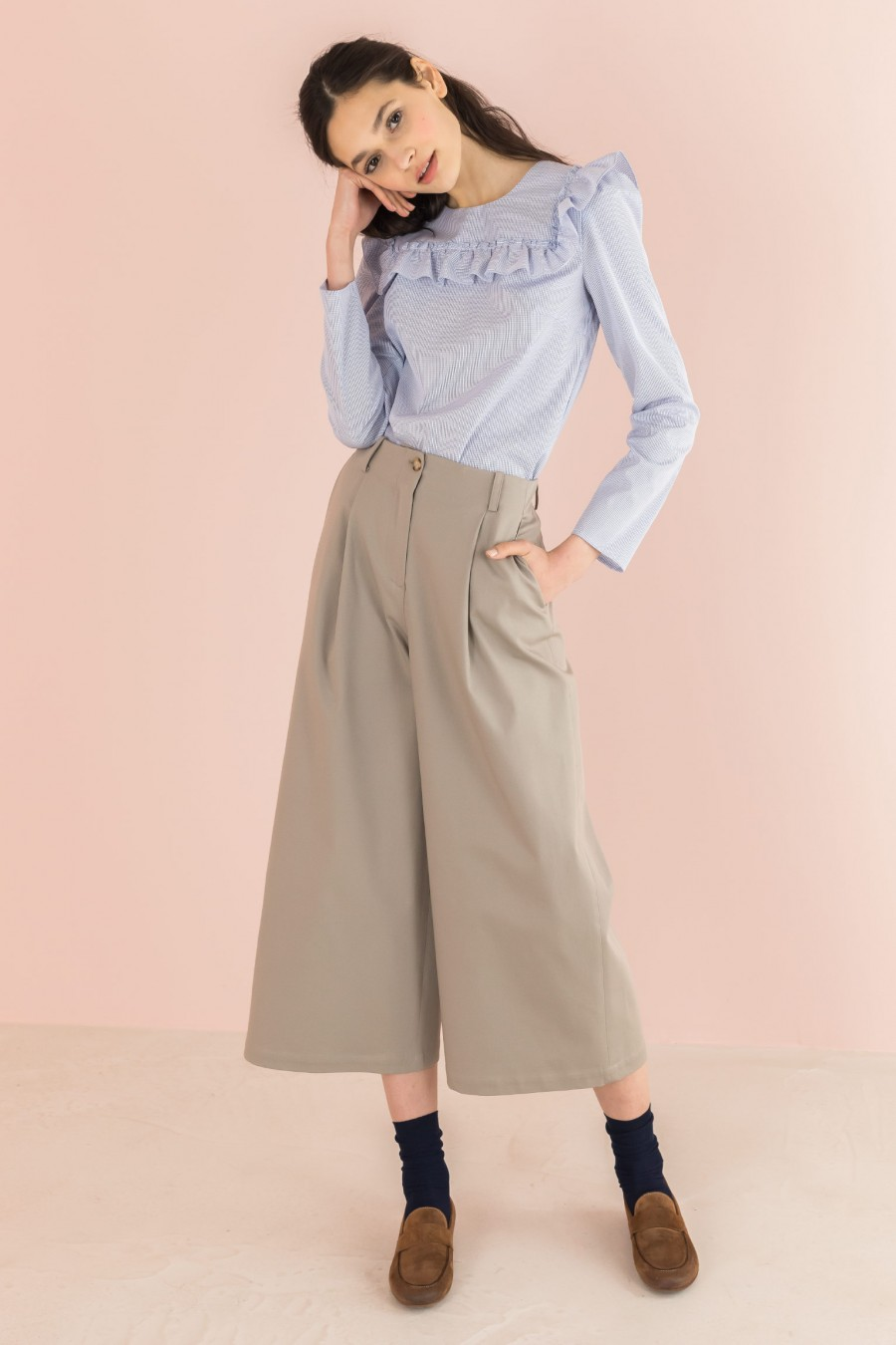 beige cotton culotte trousers