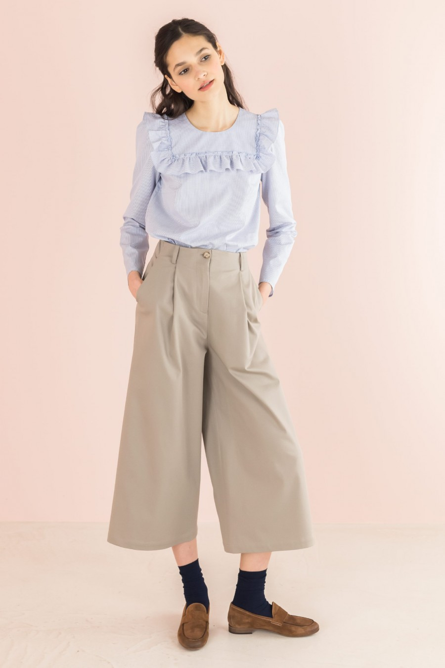 wide beige trousers