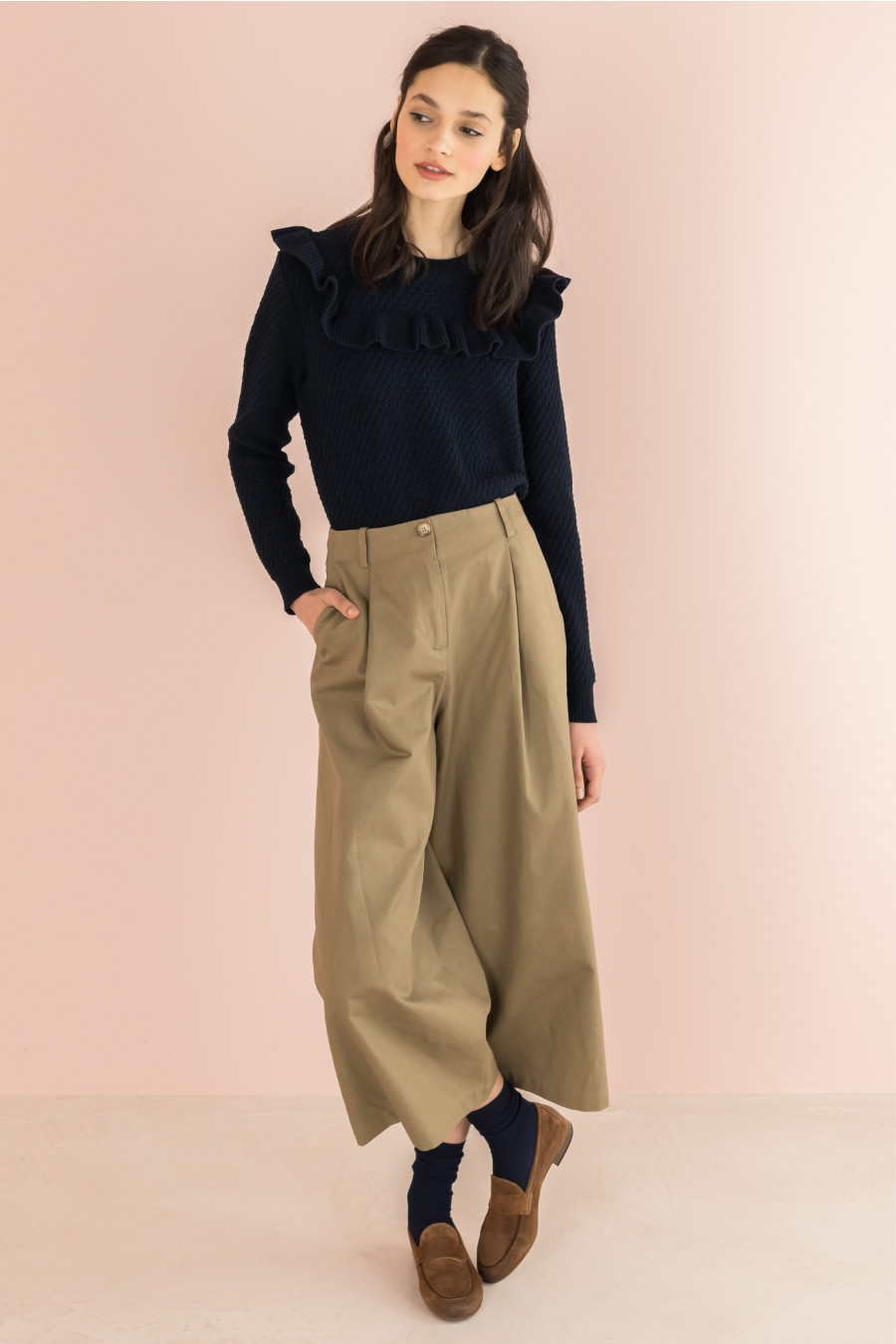 khaki wide trousers