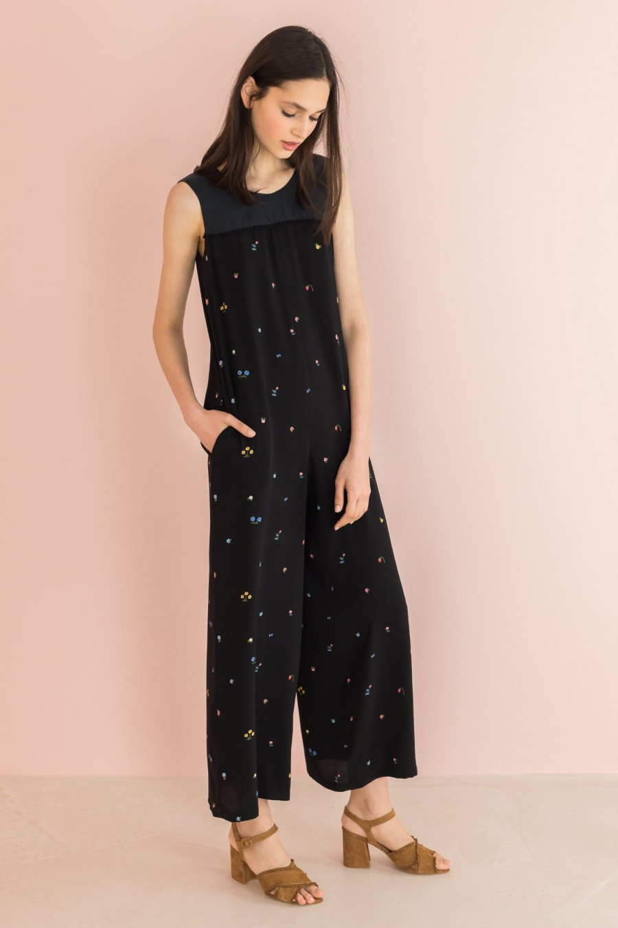 black jumpsuit with patterned