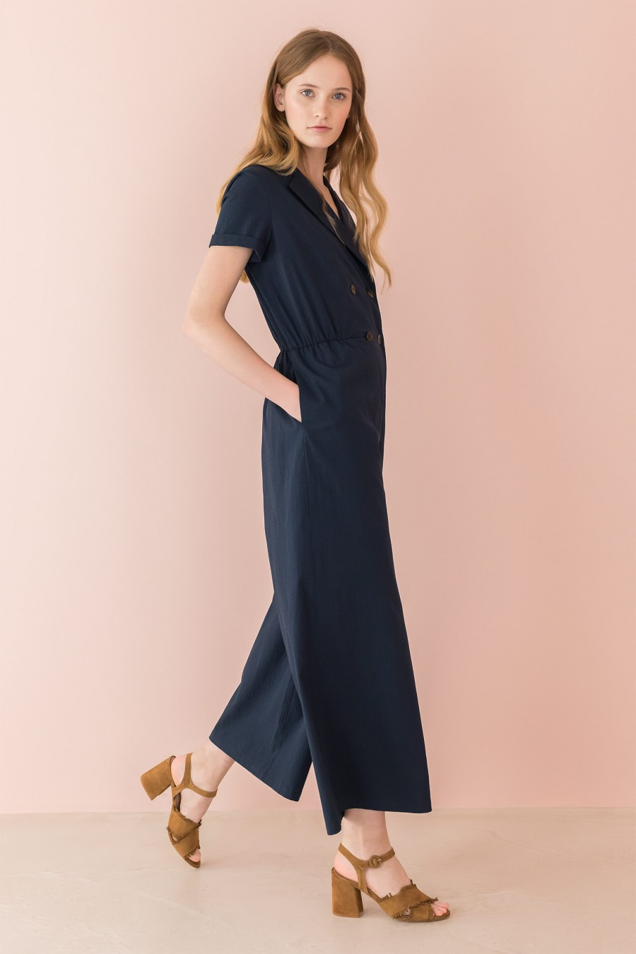 overalls with short sleeves and lapels
